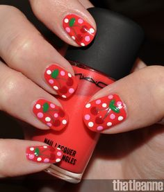 Cherry nails  These are so adorable for a little girl or young at heart.