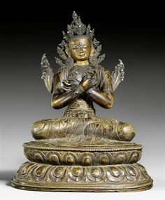 17th century, Tibet, Vajradhara, bronze (brass) with cold gold on the face (and a turquoise urna). Separate base. Private collection, photo by Koller.