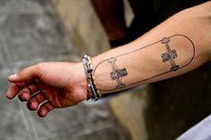 70 Coolest Forearm Tattoo Designs For Boys & Girls - Ohh My My Tatoo Skate, Skateboard Tattoo, Sweet Tattoos, Love Tattoos, Tattoos For Guys, Cool Forearm Tattoos, Forearm Tattoo Design, Type Tattoo, I Tattoo