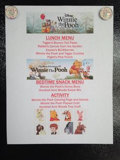 Winnie the Pooh and The Many Adventures of Winnie the Pooh Menu - Winnie the Pooh and The Many Adventures of Winnie the Pooh Movie Night - Disney Movie Night - Family Movie Night Movie Night For Kids, Dinner And A Movie, Family Movie Night, Disney Menus, Disney Dinner, Disney Food, Kid Movies, Family Movies, Disney Inspired Food