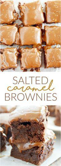 Salted caramel brownies are easier than you think and are so delicious.- Gesalzene Karamell-Brownies sind einfacher als Sie denken und sind so lecker. Salted caramel brownies are easier than you … - Brownie Desserts, Just Desserts, Brownie Ideas, Sweet Desserts, Vegan Desserts, Brownie Cake, Salted Caramel Brownies, Fudgy Brownies, Salted Caramels