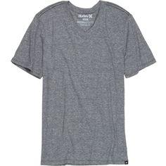 Hurley Staple Tri-Blend Prem Slim-Fit V-Neck - Short-Sleeve ($25) ❤ liked on Polyvore featuring men's fashion, men's clothing, men, hurley mens apparel, men's apparel, slim fit mens clothing and mens clothing