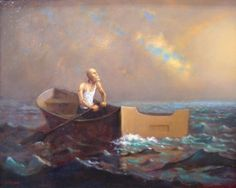 Old Man and the Sea is an original oil painting featuring an old bald man in a wife beater paddling in a small boat on the ocean under a brilliant sky by Richard Lithgow