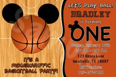 Customized Mickey Mouse Basketball Invitation.  Listing is for one printable 4 x 6 digital design! HOW TO PURCHASE: 1. Add item to your cart and follow