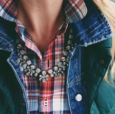 Denim and Gems fashion jewelry outdoors autumn necklace jacket jeans style plaid
