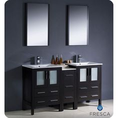 Add a sleek and modern look to your bathroom with this bathroom vanity from Fresca. An espresso finish, ceramic sinks and frosted glass door panels highlight this stylish vanity.
