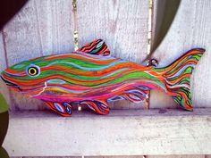 Fish beach art Gail Grant Folk Ar Outsider painting original signed wood  #OutsiderArt