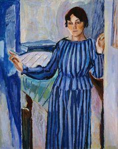 "terminusantequem: ""Henrik Sørensen (Norwegian, The Artist's Wife Gudrun, b. Cleve, Oil on canvas, 106 x 84 cm "" Oslo, Modern Art, Contemporary Art, Yellow Quilts, Edvard Munch, Female Art, Oil On Canvas, Norway, My Arts"