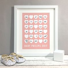 Heart Baby Shower Guest Book Alternative Custom Poster Personalised Print Baby Shower Decoration