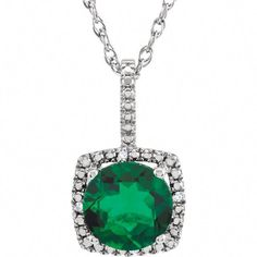 d32118391 Sterling Silver Lab-Grown Emerald and CTW Round Brilliant Diamond Halo  Necklace.