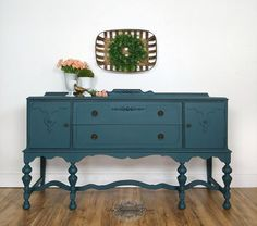 Antique Buffet, Antique Sideboard, Antique Cabinets, Sideboard Buffet, French Sideboard, Painted Buffet, Painted Sideboard, Refinished Buffet, Teal Painted Furniture