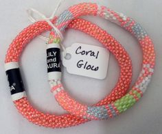 """Pearlement, Inc. - LILY and LAURA Bracelet Set of 2 -  """"CORAL GLOW"""", $30.00 (http://www.pearlement.com/lily-and-laura-bracelet-set-of-2-coral-glow/)"""