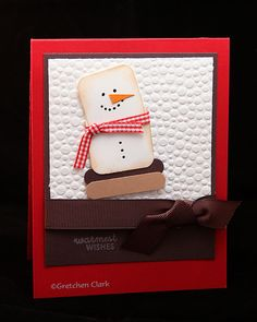 Christmas s'more snowman-real red, choc chip; whisper white; sm/lg square punches; word window (choc chip/creamy caramel); scallop circle (one scallop trimmed down for nose) write on eyes, mouth, button front