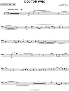 """Doctor Who Theme - Bass Clef Instrument"" from 'Doctor Who' Sheet Music (Cello…"