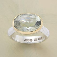 BRILLIANCE RING--This bedazzling and bewitching green amethyst brilliance ring is cradled in 18kt yellow gold and set on sterling silver. Exclusive. Whole sizes 5 to 9.