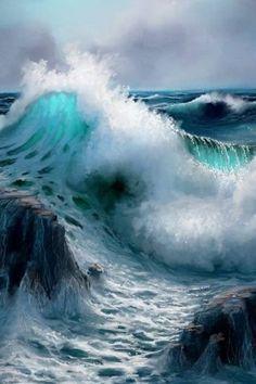 No Wave, Ocean Pictures, Nature Pictures, Waves Photography, Nature Photography, Ocean Wallpaper, Wave Art, Ocean Wave Painting, Beautiful Ocean