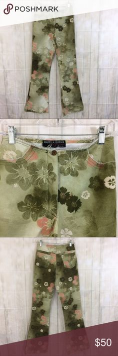 """MARIELLA BURANI NWT Floral Flare Jeans Sz 2 MARIELLA BURANI Le Giovani  Condition NWT No flaws  Green and pink floral  Size 2  Fabric 98 cotton 2 elastan  Measurements Waist 13"""" Inseam 31"""" Rise 10 1/2""""  Made in Italy  Gorgeous flare floral pants with selvedge edges on waist, pockets and hems. Festival season approaches! Mariella Burani Jeans Flare & Wide Leg"""