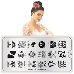MoYou-London Nail Art Image Stamping Plate Bridal Collection 04 Shipping within 24 hours Nail Art Designs, Bridal Nails Designs, Bridal Nail Art, Stencil Designs, Moyou Stamping, Nail Stamping Plates, Nail Stamper, London Nails, Nail Art Images