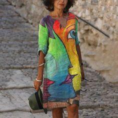 Ladies casual V-neck printed short sleeve dress - realyiyi.com 50 Fashion, Womens Fashion Online, Latest Fashion For Women, Ladies Fashion, Bohemian Print, Vestidos Vintage, Lady V, V Neck Dress, Casual Dresses