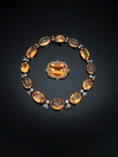 A Rare Antique Topaz and Diamond Necklace and Brooch