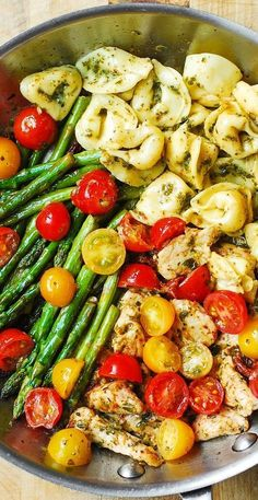 One-Pan Pesto Chicken, Tortellini, and Veggies – healthy, refreshing, Mediterranean-style dinner. Perfect recipe for the Spring Healthy Dinner Ideas for Delicious Night & Get A Health Deep Sleep Chicken Tortellini, Tortellini Recipes, Pesto Chicken, Pasta Recipes, Chicken Recipes, Cooking Recipes, Healthy Chicken, Pesto Tortellini, Oven Chicken