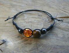 Amber Tigers eye and Hematite Bracelet Handmade by TriouZ on Etsy, £7.55