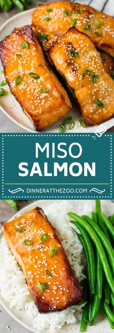 This miso salmon is fresh fish fillets soaked in a flavorful marinade, then broiled to perfection and topped with sesame seeds. Veggie Recipes, Fish Recipes, Lunch Recipes, Seafood Recipes, Asian Recipes, Healthy Recipes, Chinese Recipes, Salmon Recipes, Fish Dishes