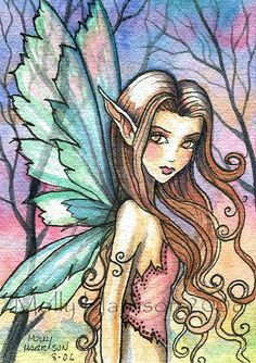 Fairy Art: aceo Evening Stroll by Artist Molly Harrison