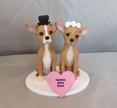 FOR SALE Clay Chihuahua Dog Bride Groom by CherishCakeToppers