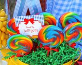 over the rainbow stuff, candy, maybe tulle or giant balloons.....