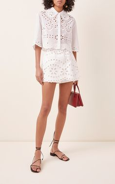 Red Valentino Cropped Broderie Anglaise Cotton Top