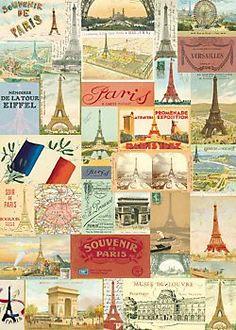 Cavallini Eiffel Postcards Wrapping Paper