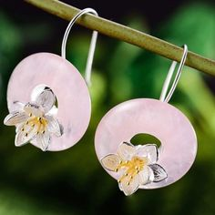 Material - high quality of sterling silver 925 with stamp. Color - sterling silver, gold plated and pink. Inspired by nature and life. Lotus Flower, Dangle Earrings, Dangles, Christmas Gifts, Gemstones, 3d, Sterling Silver, Natural, Flowers