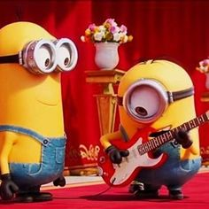 Rockstar Stuart amazes Kevin!! 😎🎸 Cute Minions, My Minion, Minion Party, Despicable Me, Photo And Video, My Love, Happy, Fictional Characters, Instagram