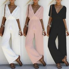 263793a41bd 2018 New Women Fashion V Neck Loose Playsuit Party Ladies Romper Three  Colors Short Sleeve Casual