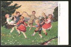 Künstler-AK Franziska Schenkel: Kinder tanzen Ringel, Ringel, Reihe 0