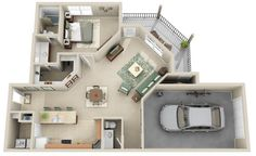 Our Austin (A3) floor plan hosts 987 sq ft. It has 1 bedroom and 1.5 bathrooms....and an attached garage!