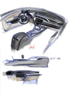Car Interior Sketch, Car Interior Design, Automotive Design, Exterior Design, Custom Center Console, 2016 Cars, Industrial Design Sketch, Product Sketch, Car Interiors