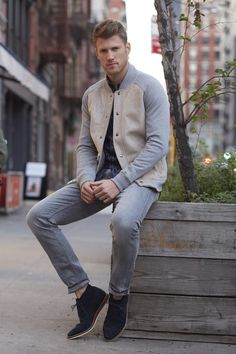 This men's baseball jacket with faux-sherpa lining pairs great with a patterned button down, light gray denim pants and navy suede lace-up shoes   Banana Republic