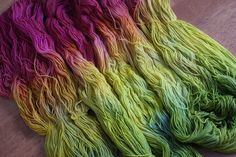 Fallscape: Pokeberry red mixes with the green of turmeric-overdyed black bean to evoke the most cheerful of fall days.