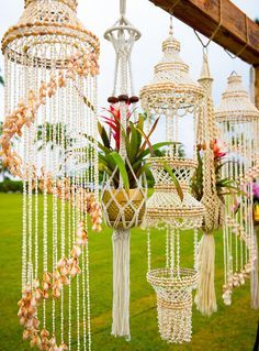 Inspired by: Show Me Your Mumu Owner Floral, Event Design and Decor Rentals… Shell chandeliers make for the perfect tropical wedding accents! 12 Macrame Wedding Details for The Boho Bride - Inspired By This We've rounded up 12 macrame wedding details th Kauai Wedding, Boho Wedding, Green Wedding, Wedding Shoes, Mumu Wedding, Destination Wedding, Trendy Wedding, Wedding Flowers, Shell Chandelier