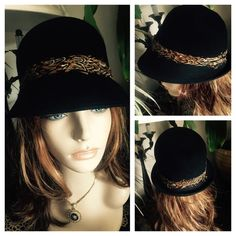 """RACHEL ZOE Black Cloche Hat w Pheasant Feathers A beautiful 100% black wool hat by RACHEL ZOE.  Outside has a band of lovely pheasant feathers. Inside lined in black grosgrain ribbon. Circumference measures approx. 22""""; 6"""" crown height; 10"""" brim diameter. Please measure your head circumference before ordering. The mannequin is a display model only and not reflective of how a hat will fit or look on your head. In wonderful preowned condition. Smoke-free home. Rachel Zoe Accessories Hats"""