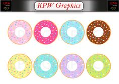 Sprinkled Donuts Clip-art Set in a PNG format. Personal & Small Commercial use Sprinkle Donut, Png Format, Clipart Images, Sprinkles, Donuts, Commercial, Clip Art, Invitations, Digital