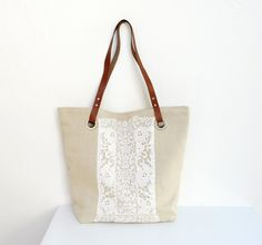 Linen, Leather and Antique Lace Tote Bag
