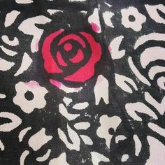 Hand painted elements on the rose print blockprint