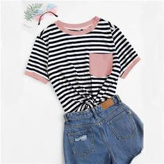 To find out about the Pocket Patched Striped Ranger T-shirt at SHEIN, part of our latest T-Shirts ready to shop online today! Ranger, Preppy Casual, Plus Size T Shirts, T Shirts For Women, Clothes For Women, Types Of Sleeves, Fashion News, Fashion Moda, Fashion Styles