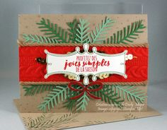 by Cindy: Christmas Pines Bundle, Cable Knit embossing folder, Kraft Rope Trim - all from Stampin' Up!