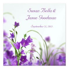 #bridal - #Wedding Invitation--Purple Flowers Horizontal Card