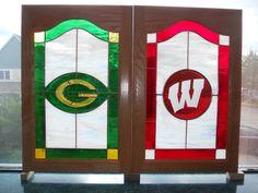 Custom Sports teams cabinet doors for any sports bar! made by artist Kim P. Custom Cabinet Doors, Glass Cabinet Doors, Custom Cabinets, Stained Glass Cabinets, Stained Glass Windows, South Milwaukee, Custom Stained Glass, First Art, Sports Teams