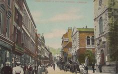 Early postcard showing Lincoln High Street with St Peter at Arches and the Butter Market on the right. Lincoln England, Lincoln Uk, Lincoln Cathedral, Portland Stone, City Library, On The High Street, British Library, Facade, Past